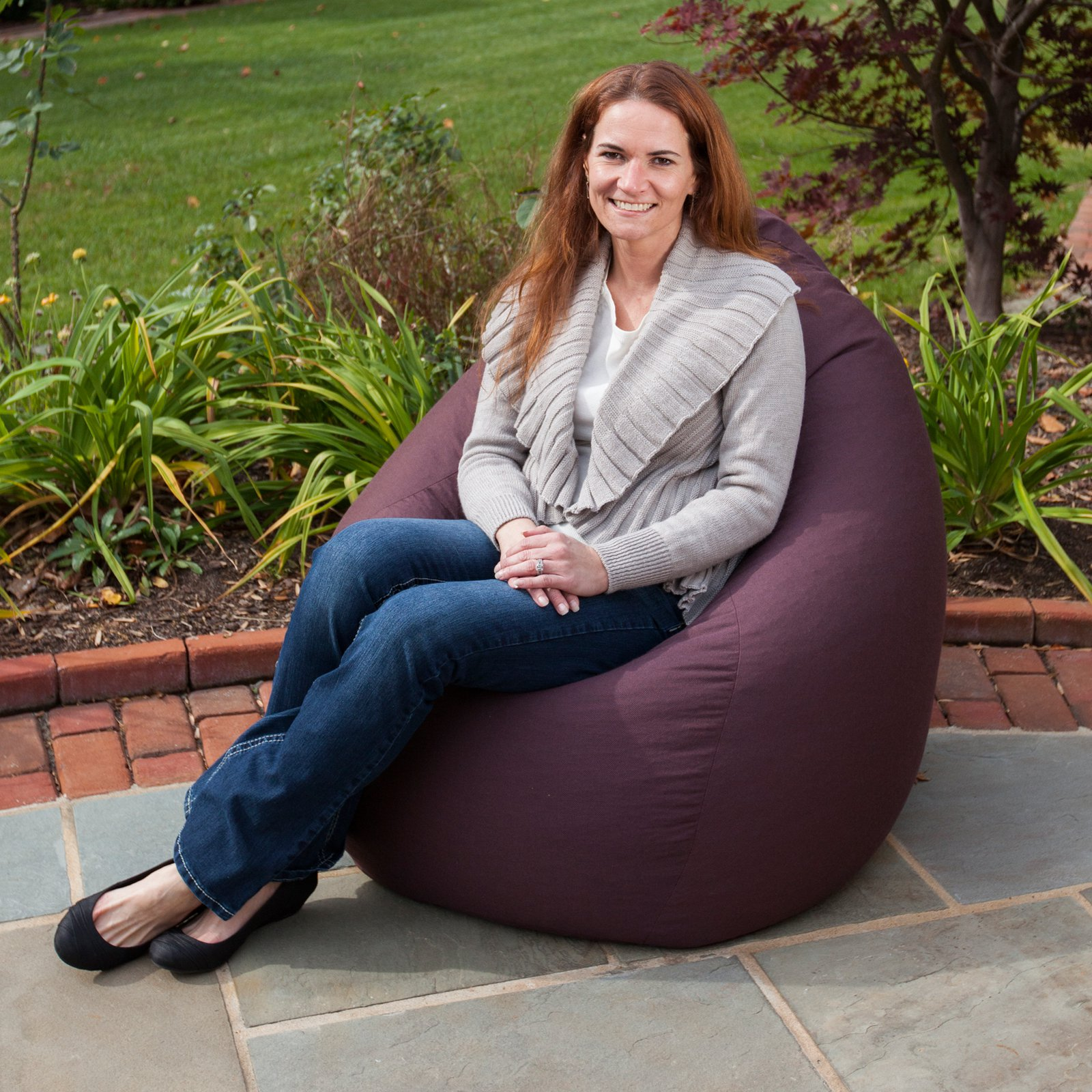 Gold Medal 30011685981TD Outdoor-Indoor Weather Resistant Tear Drop Bean Bag - Fife Plum