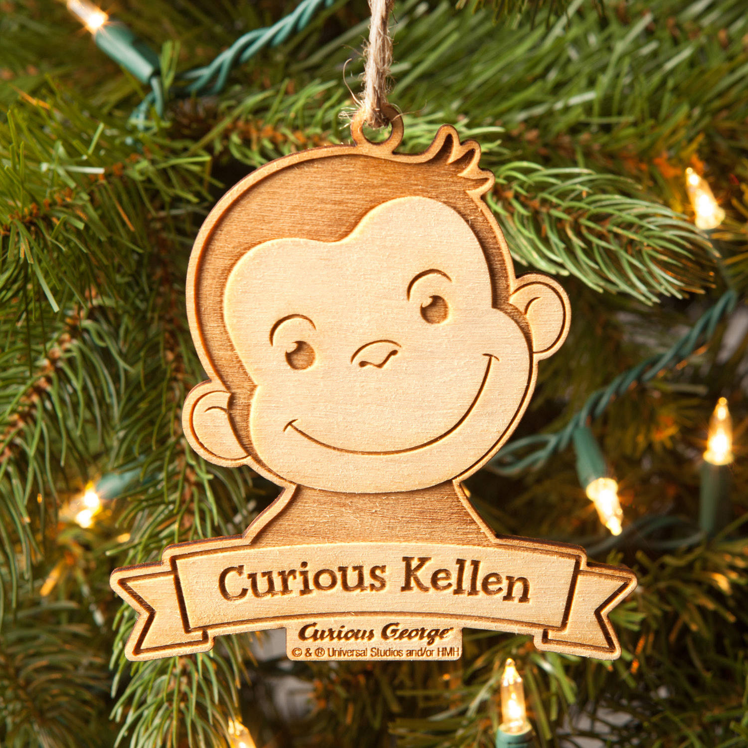 Curious George Christmas.Personalized Christmas Ornament Curious George Curious Kid Wood Ornament