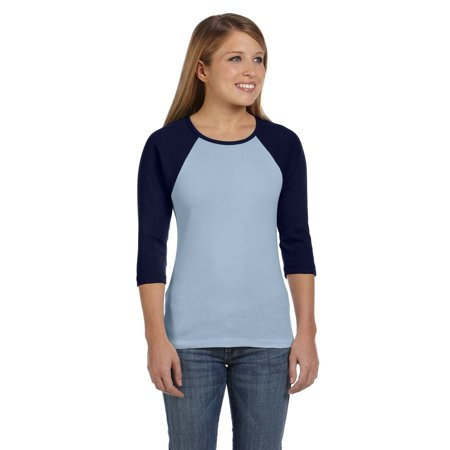 Bella Tshirt B2000 Women Junior's Rib 3/4 Sleeve Contrast Raglan