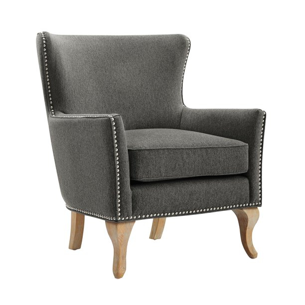 Dorel Living Reva Accent Chair, Living Room Armchairs, Charcoal Linen