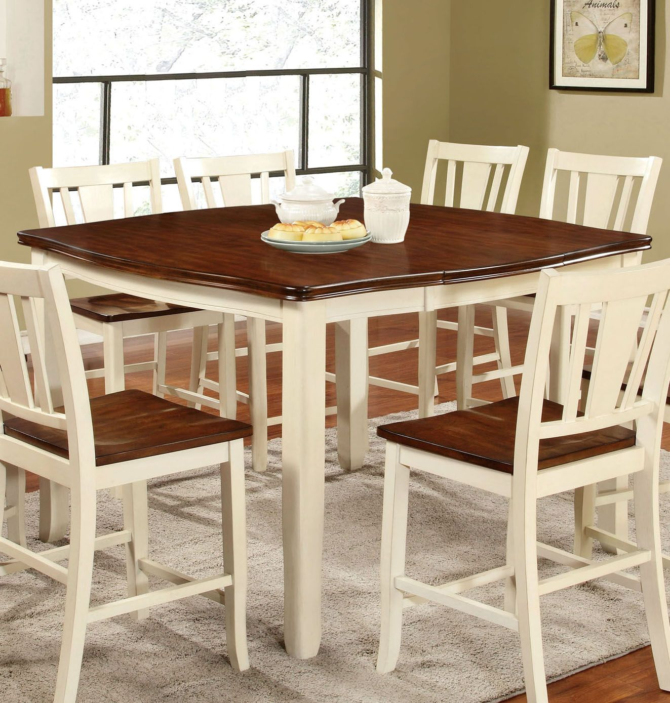 Transitional Counter Height Table, Vintage White, Cherry Brown