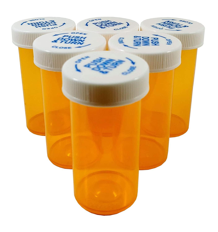 25//Lot RX Meds Pharmacy 13 Dram Plastic Safety Lids Crafts Storage Pill Bottes