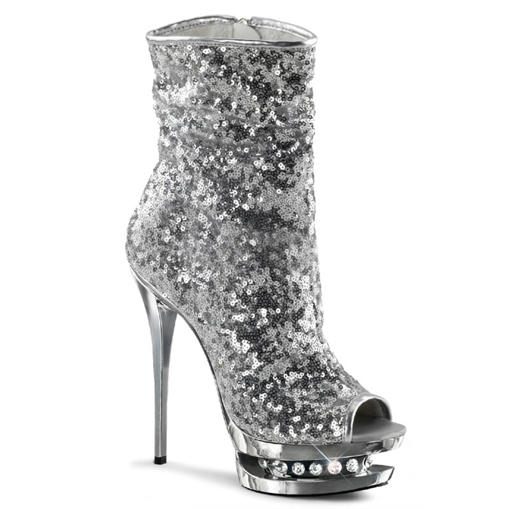 6 Inch Silver Sequin Boots Peep Toe Platform Glamour Shoes