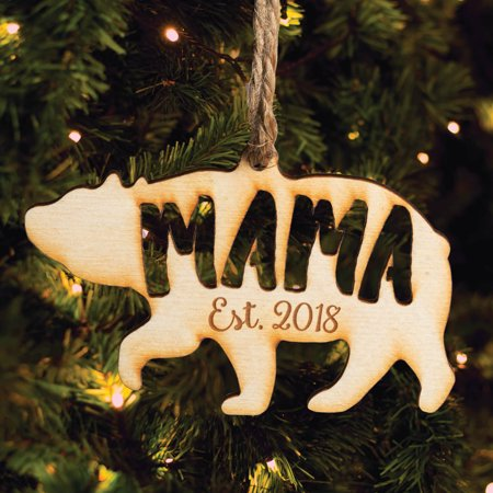 Mama Bear Personalized Wood Ornament