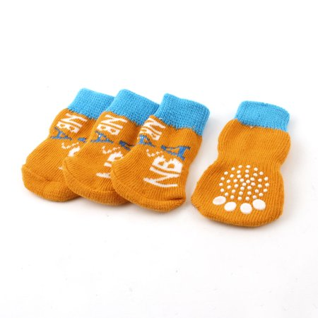 Unique Bargains 2 Pairs Paw Letters Printed Stretch Knitted Dog Pets Socks Orange Blue Dog Blue Paw Prints