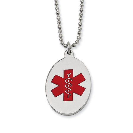 Stainless steel oval medical alert necklace 22 inch walmart stainless steel oval medical alert necklace 22 inch aloadofball Image collections