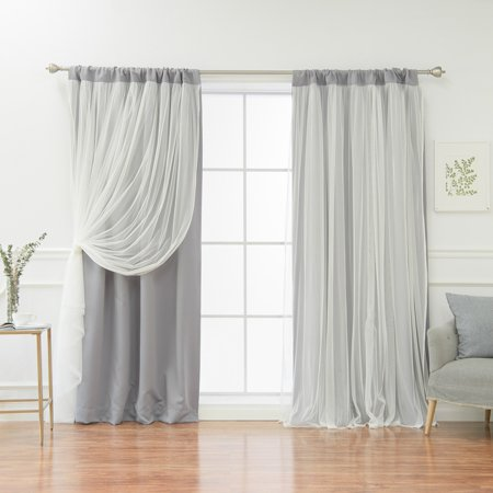 Best Home Fashion Solid Rod-Pocket Blackout with Tulle Overlay Curtain Panel Pair ()