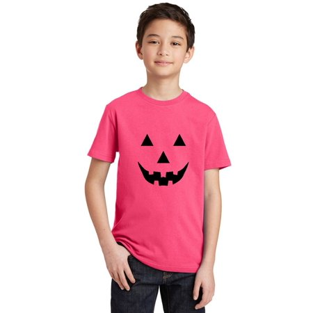 P&B Jack O Lantern Pumpkin Face Funny Halloween Youth T-shirt, Youth S, Cyber Pink - Red And White Halloween Faces