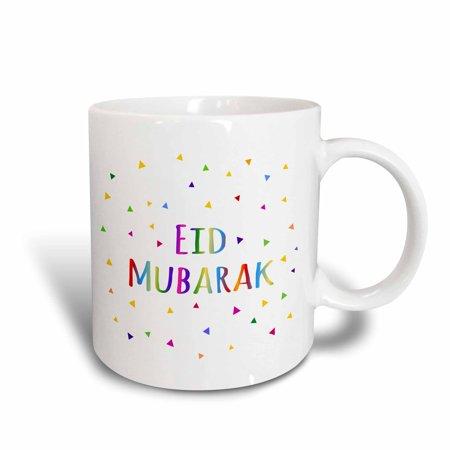 Happy Mug - 3dRose Eid Mubarak - happy Eid blessing after Ramadan Islamic Muslim holidays, Ceramic Mug, 11-ounce
