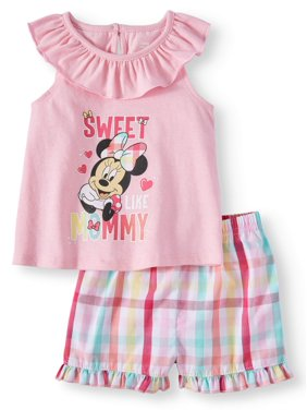 Disney Minnie Mouse Baby Girl Tee and Short, 2-Piece set