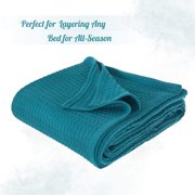 JMR Cozy Waffle Weave Blanket | Cotton Medium Weight Hotel Throw Blankets Great for All Seasons | Upgrade Your Home Decor with Hypoallergenic Soft Quilt for Bed, Couch & Sofa (Teal, Twin 66 x 90)