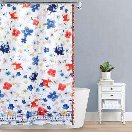 Vita Shower (Splash Home Vita Polyester Fabric Shower Curtain With Pompom's, 70