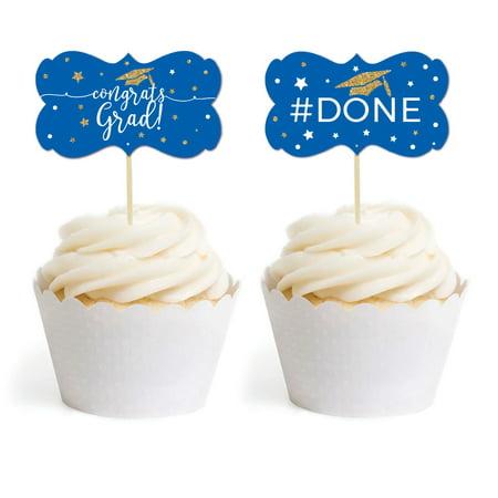 Royal Blue and Gold Glittering Graduation, Cupcake Topper DIY Party Favors Kit, Fancy Frame Shape, 18-Pack (Diy Graduation Party Favors)