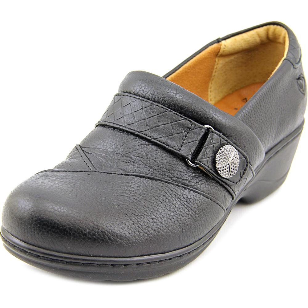 Click here to buy Nurse Mates Kris Women Round Toe Leather Black Clogs by Nurse Mates.