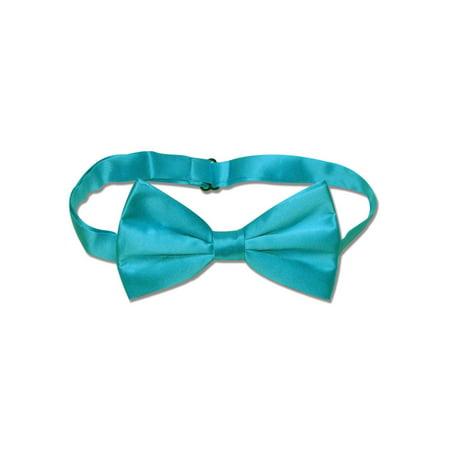 100% SILK BOWTIE Solid TURQUOISE AQUA BLUE Color Men's Bow Tie for Tux or Suit