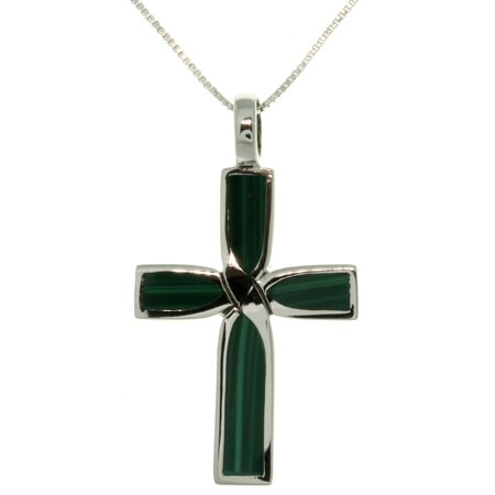 Designer Malachite Necklace (Sterling Silver Malachite Celtic Cross Inlay)