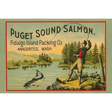 A design from a Victorian era can label for Salmon from the Fidalgo Island packing company from Anacortes Washington featuring a man fly fishing Poster Print by Schmidt Litho (Best Salmon Fishing In Washington State)