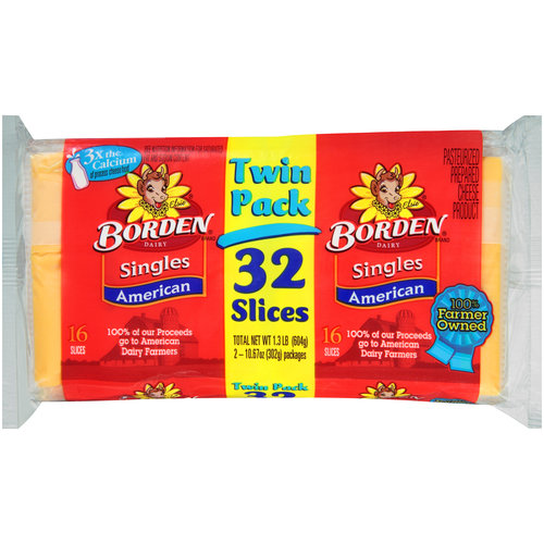 Borden Singles American Cheese Slices Twin Pack, 32 ct, 1.3 lb