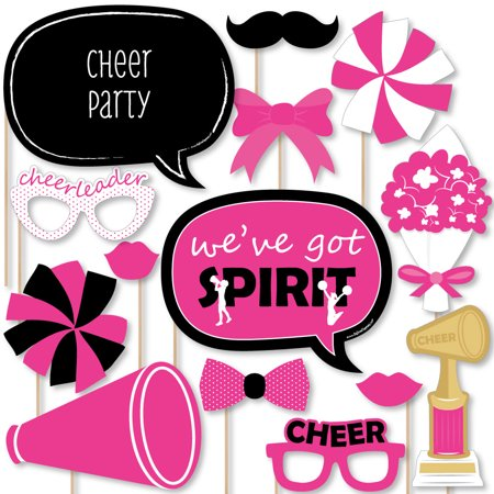 We've Got Spirit - Cheerleading - Birthday Party or Cheerleader Party Photo Booth Props Kit - 20 Count - Cheerleader Supplies