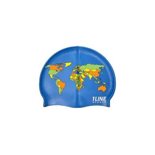Image of 1LineSports Map Silicone Swim Cap