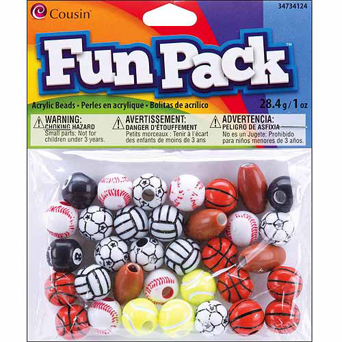 Fun Pack Acrylic Sports Beads, 1 oz, Assorted Balls