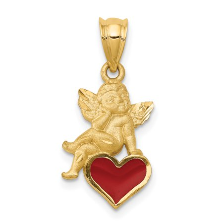 (14k Enameled Angel on Heart Pendant)