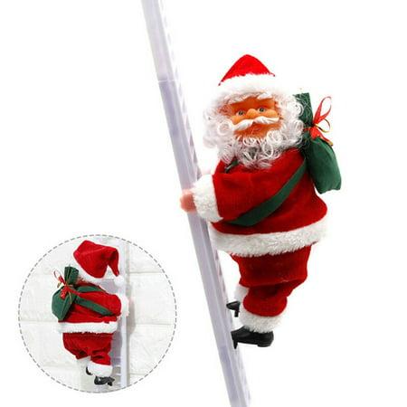 Santa Claus Jingle Bell (KABOER Animated and Musical Jingle Bells Santa Claus Climbing Ladder Christmas Decor Nice)