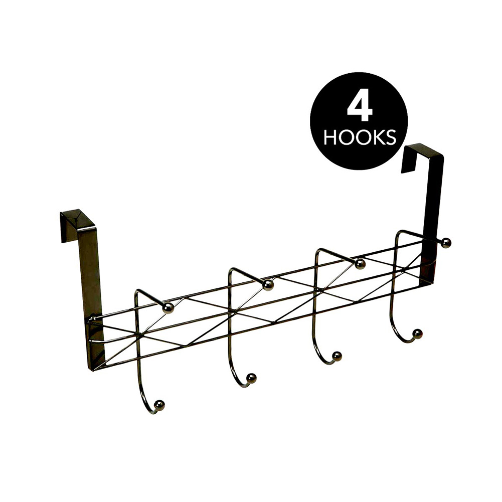 Simplify Geometric Collection Over The Door 8 Hook Hanger, Black, 15.75x3.9x11.3 Inches