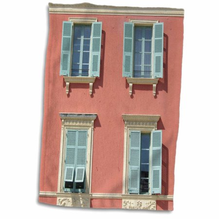 3dRose Quaint European shuttered windows in Nice - South of France - pink coral orange and mint green blue - Towel, 15 by 22-inch