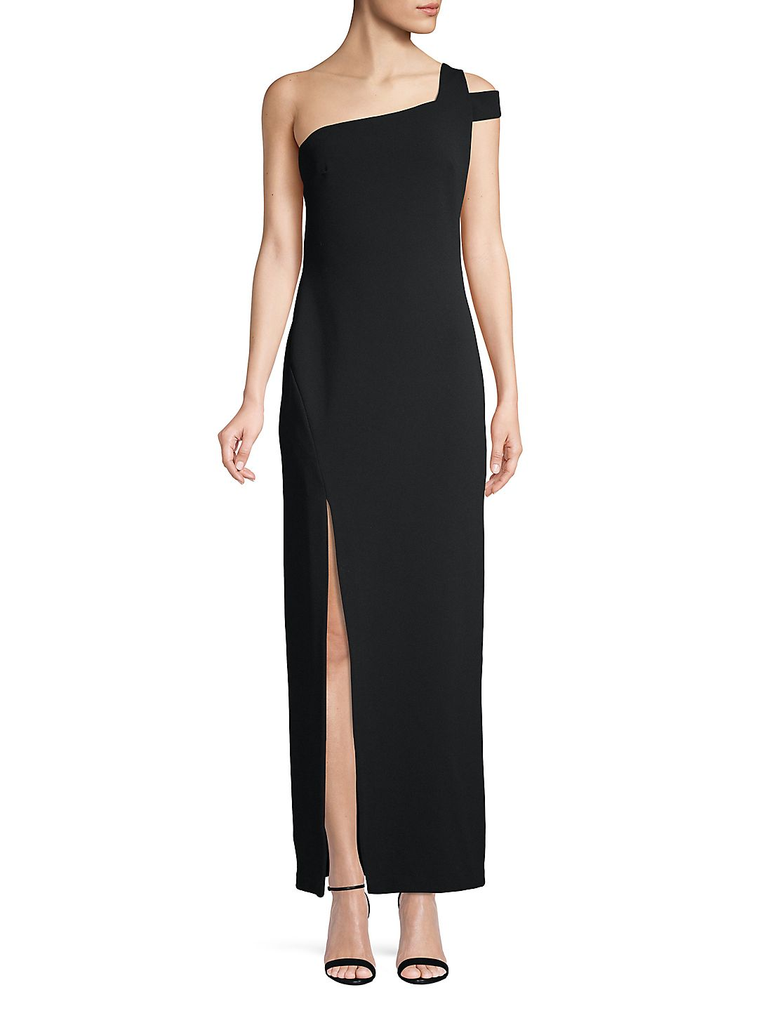 One Shoulder Slit Evening Gown
