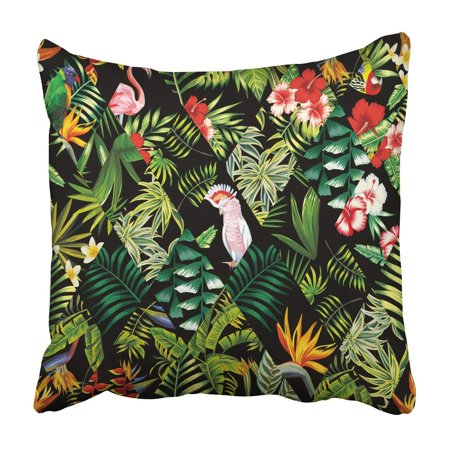 BOSDECO Jungle parrots and pink flamingos Pillowcase Throw Pillow Cover Case 20x20 inches - image 1 of 2