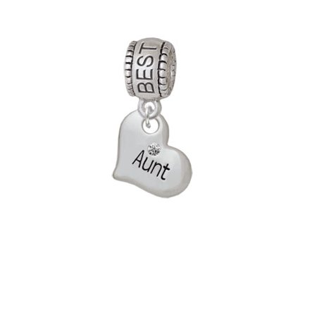 Small ''Aunt'' Heart with Clear Crystal - Best Friend Charm