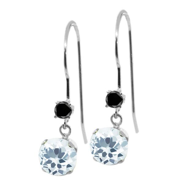 1.53 Ct Round Sky Blue Aquamarine Black Diamond 14K White Gold Earrings