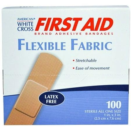 "American White Cross 1"" x 3"" Flexible Fabric Adhesive Strip Bandage 700 Bandages MS-25150"