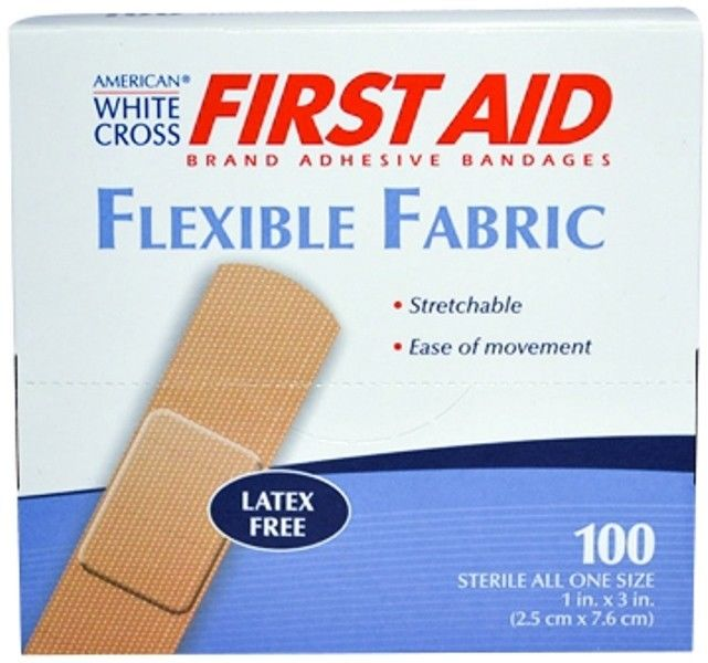 "American White Cross 1"" x 3"" Flexible Fabric Adhesive Strip Bandage 800 Bandages MS-25150"