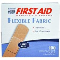 "American White Cross 1"" x 3"" Flexible Fabric Adhesive Strip Bandage 1 Case ( 1200 Bandages ) MS-25150"