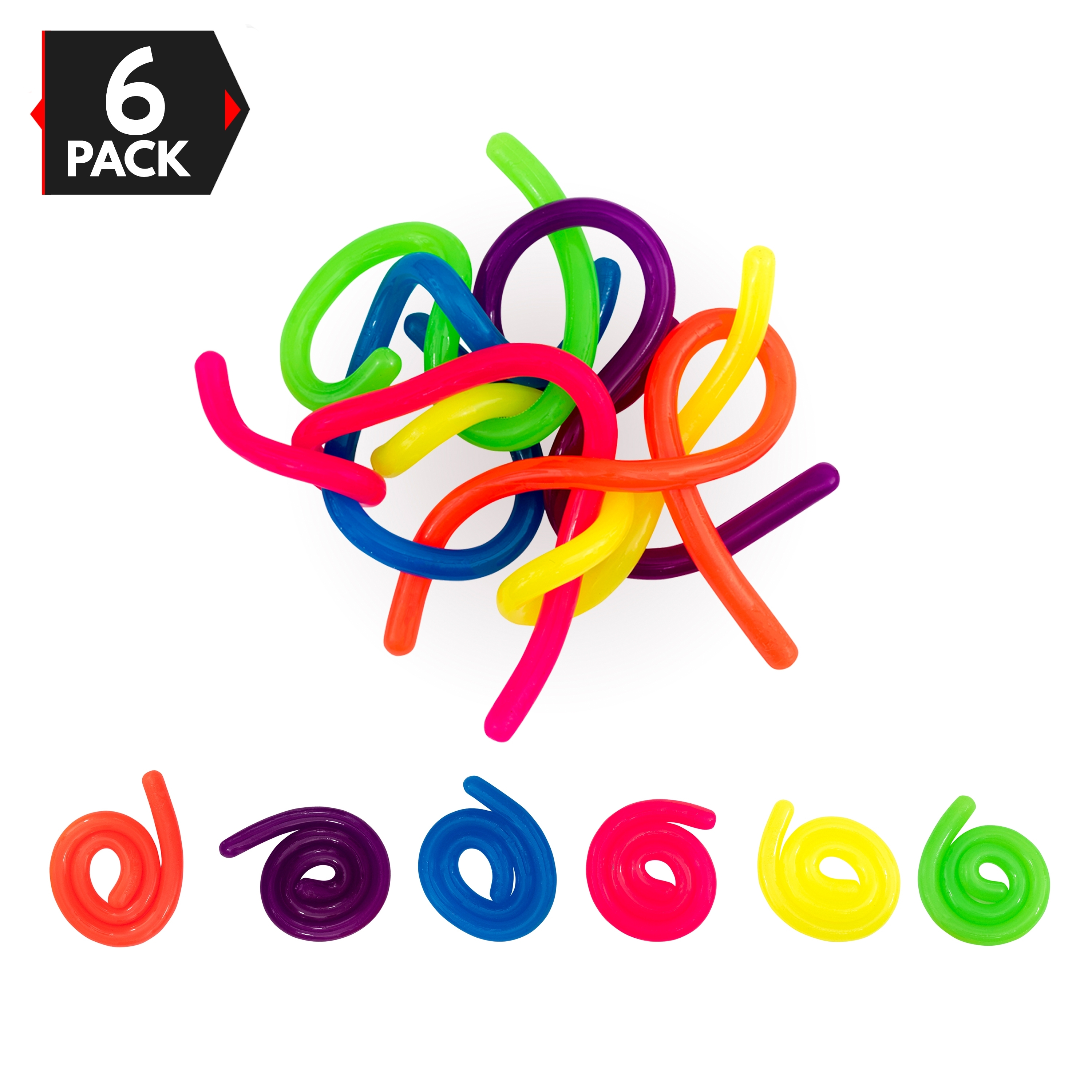 6 Neon Stretchy Strings For ADD / ADHD Stretch Toy Stress Reliever Fidget Toy