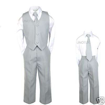 Baby Boys Toddler Teen Wedding Formal Party Vest Set Silver Gray Grey Suits S-20 (Boys Zoot Suits)