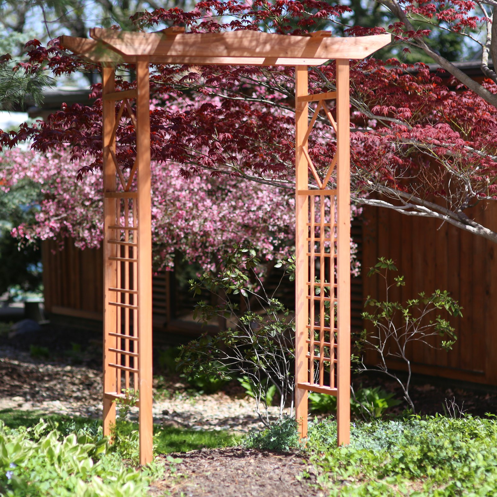 Arbor Over Gate Ideas: Outdoor 6.5 Ft. Pagoda Wood Arbor Garden Gate Trellis