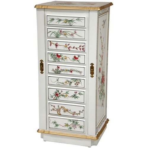 Oriental Furniture Nine Drawer Jewelry Cabinet in White