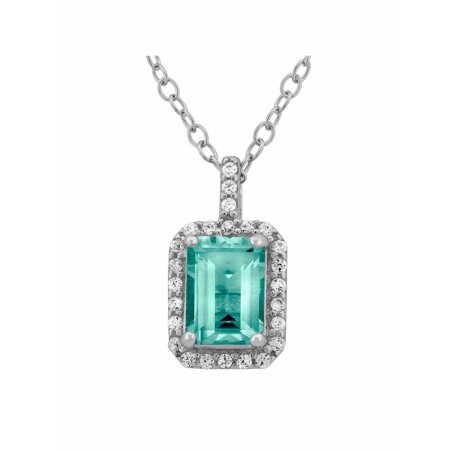 Aquamarine and CZ Sterling Silver Emerald-Cut Halo Pendant, 18""