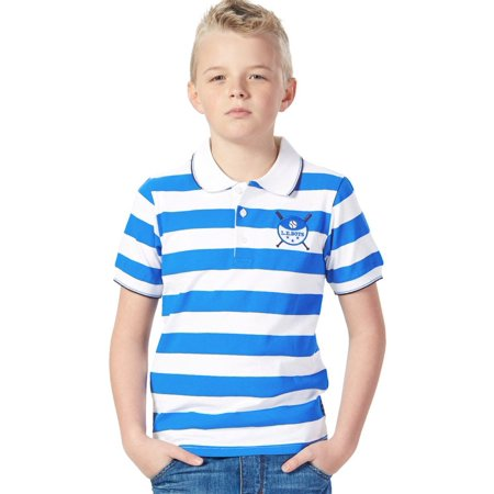 Leo&Lily Short Sleeve Big Boys Sailor's Stripe Rugby Polo (Boys Striped Polo Rugby Shirt)