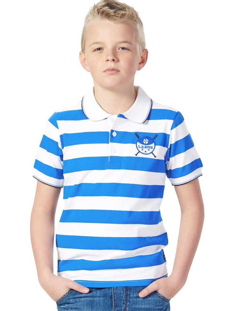 Leo&Lily Short Sleeve Big Boys Sailor's Stripe Rugby Polo Shirts