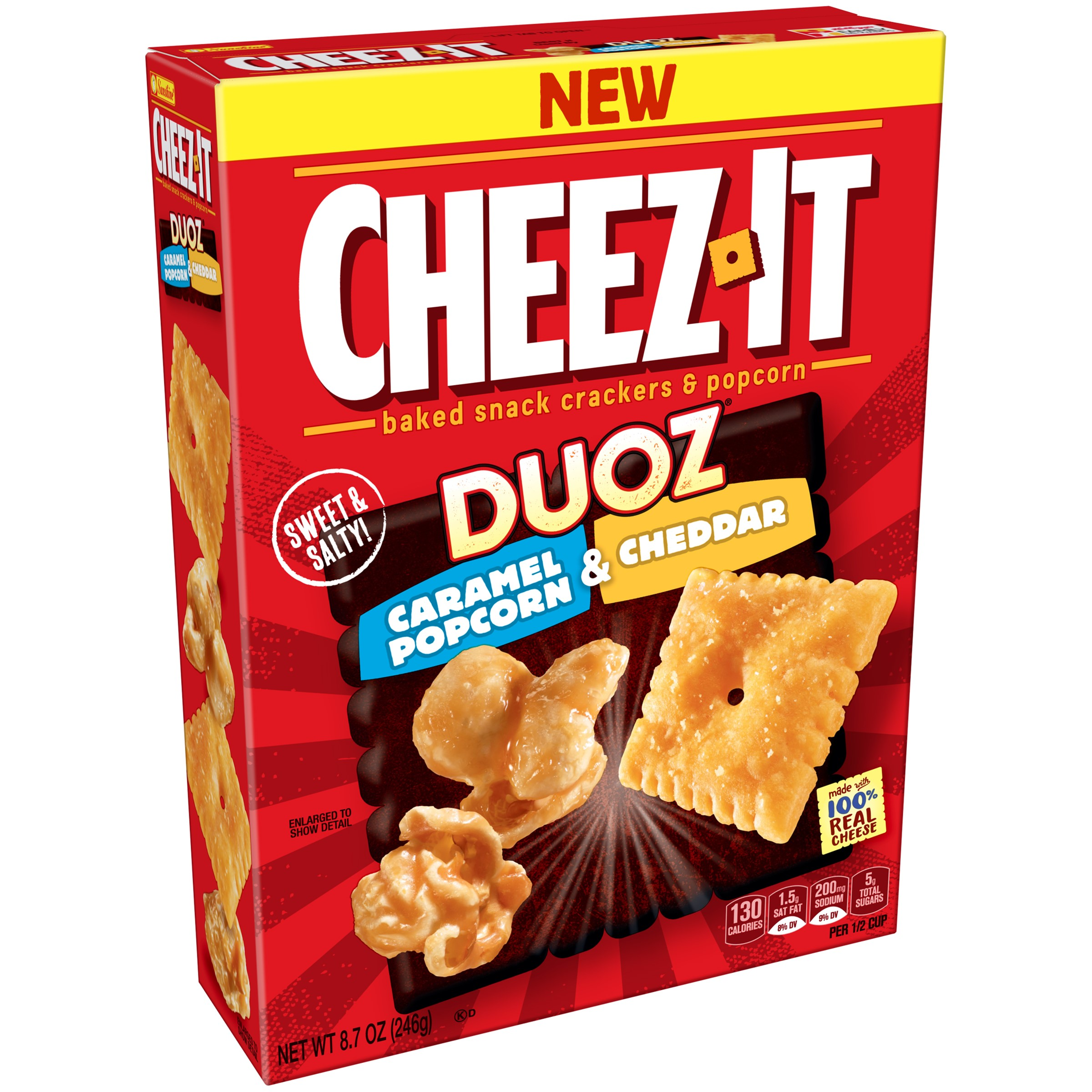 (2 Pack) Cheez-It Duoz Caramel Popcorn & Cheddar Baked Snack Crackers & Popcorn 8.7 oz. Box