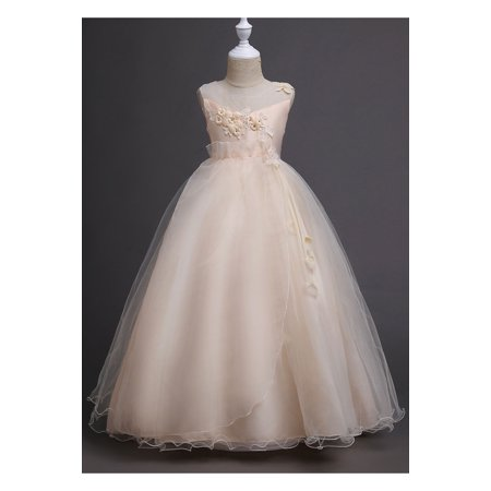 Kids Girls Flower Lace Ball Gown Fancy Dress - Girls Dresses Fancy