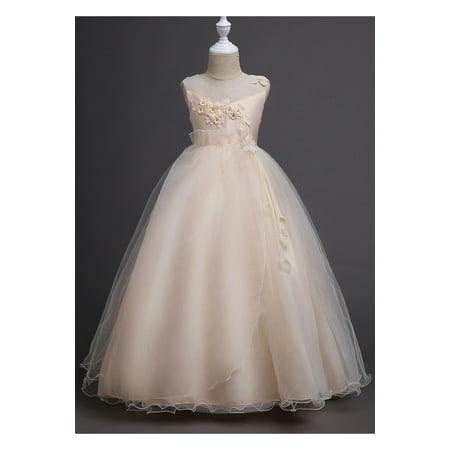 Kids Girls Flower Lace Ball Gown Fancy Dress