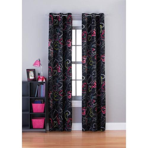 Your Zone Scribble Hearts Room Darkening Grommet Girls Bedroom Curtains
