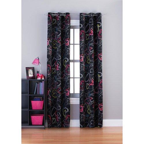 Bedroom Curtains Walmart: Your Zone Scribble Hearts Room Darkening Grommet Girls