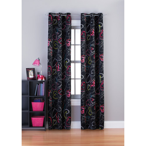 Your Zone Scribble Hearts Room Darkening Grommet Girls Bedroom Curtains