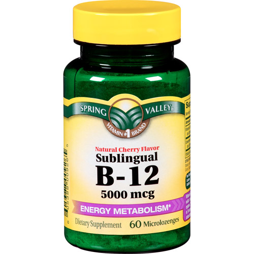 Spring Valley Sublingual B-12 Dietary Supplement Microlozenges, 5000mcg, 60 count